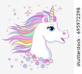 unicorn head portrait vector...   Shutterstock .eps vector #695972398