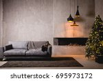 the gray velor sofa in the dark ... | Shutterstock . vector #695973172