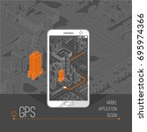 mobile gps and tracking concept.... | Shutterstock .eps vector #695974366