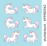 unicorn on rainbow. cute magic... | Shutterstock .eps vector #695982562