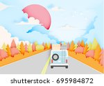 road trip with car and natural... | Shutterstock .eps vector #695984872