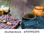 belt camera mirrorless plaid... | Shutterstock . vector #695990395