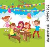 children birthday party...   Shutterstock .eps vector #695993902