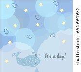 baby boy birth announcement.... | Shutterstock .eps vector #695994982