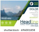 blue and green flyer cover... | Shutterstock .eps vector #696001858