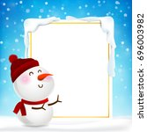 blank rectangle frame and snow... | Shutterstock .eps vector #696003982