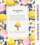 tasty colorful vector macaroon... | Shutterstock .eps vector #696008425