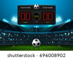 soccer football with scoreboard ... | Shutterstock .eps vector #696008902