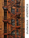 old external steel fire escape...   Shutterstock . vector #696009616