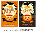 halloween party poster  banner  ... | Shutterstock .eps vector #696010372