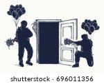 arrest of criminal tattoo... | Shutterstock .eps vector #696011356