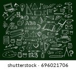 shool icons on the green... | Shutterstock .eps vector #696021706