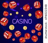 casino.poster wish red dice and ... | Shutterstock .eps vector #696022348