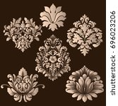 vector set of damask ornamental ... | Shutterstock .eps vector #696023206