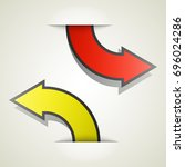 two curved circle arrow ribbon. ... | Shutterstock .eps vector #696024286
