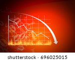 red graph is going down. | Shutterstock . vector #696025015