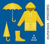 raincoat  rubber boots  open... | Shutterstock .eps vector #696026842