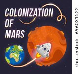 illustration of colonization of ... | Shutterstock .eps vector #696031522