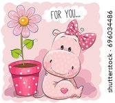 Greeting Card Hippo Girl With...