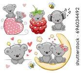 set of cute cartoon teddy bear... | Shutterstock . vector #696034492