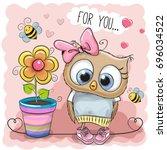 greeting card cute cartoon owl... | Shutterstock . vector #696034522