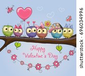 valentines card with six cute... | Shutterstock . vector #696034996
