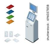 isometric set online payment... | Shutterstock . vector #696037858