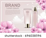 cosmetic ads template  cosmetic ... | Shutterstock .eps vector #696038596