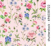 Seamless Watercolor Rose...