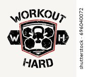 workout hard   vector... | Shutterstock .eps vector #696040072