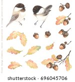 autumn collection of birds... | Shutterstock .eps vector #696045706