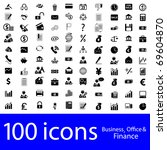 100 icons business  office  ... | Shutterstock .eps vector #69604870