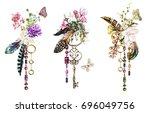set watercolor illustration...   Shutterstock . vector #696049756