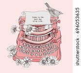vintage typewriter with a... | Shutterstock .eps vector #696053635