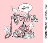 vintage telephone and birds on... | Shutterstock .eps vector #696053752