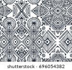 black and white ethnic tribal... | Shutterstock .eps vector #696054382