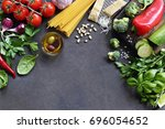 seasonal  vegetables and herbs. ... | Shutterstock . vector #696054652