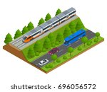 isometric train tracks and... | Shutterstock .eps vector #696056572