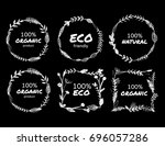 a set of bio or eco round and... | Shutterstock .eps vector #696057286
