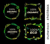 set of bio eco round and square ... | Shutterstock .eps vector #696058666
