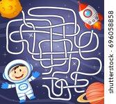help cosmonaut find path to... | Shutterstock .eps vector #696058858