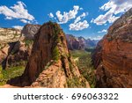 dramatic angel's landing...   Shutterstock . vector #696063322