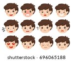 set of adorable boy facial... | Shutterstock .eps vector #696065188