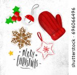 christmas theme symbols biscuit ... | Shutterstock .eps vector #696066496