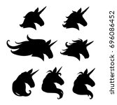 unicorn head silhouette set.... | Shutterstock .eps vector #696086452