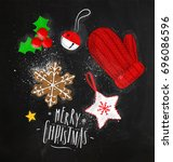 christmas theme elements... | Shutterstock .eps vector #696086596