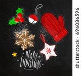 christmas theme elements... | Shutterstock .eps vector #696086596