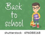 caucasian pupil with backpack...   Shutterstock .eps vector #696088168