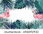 vector tropical jungle... | Shutterstock .eps vector #696092932