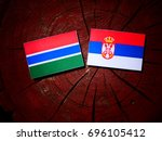gambian flag with serbian flag...   Shutterstock . vector #696105412